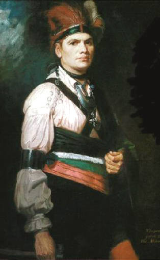 Joseph brant painting by george romney 1776