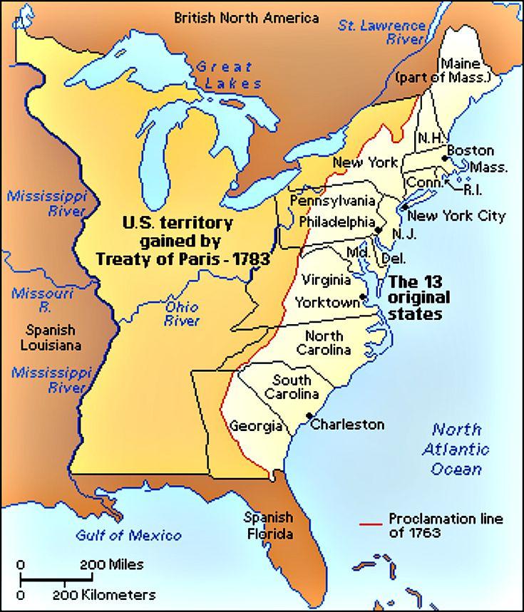 Treaty of paris 1783 map 342a1c16e7579065b2ed8c2f27794b7f pinterest